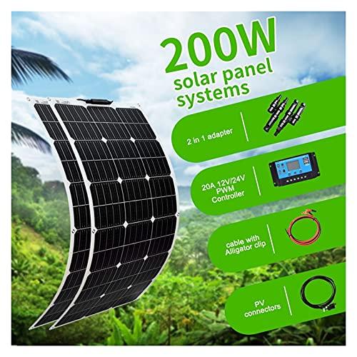 ZhuFengshop 18v Flexible Panel Solar 1000w 300w 100w 200w 400w 500w 800w Celular para 12v 24v De La Batería De Coche RV Barco Cable De Remolque (Color : 200W Kit)