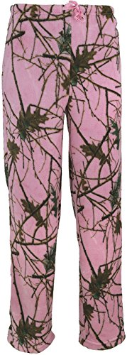 Trailcrest Womens Ultra Soft Coral Fleece Camo Lounge Pajama Pants (Pink Camo, Large)