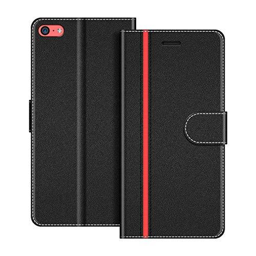 COODIO Handyhülle für iPhone 5C Handy Hülle, iPhone 5C Hülle Leder Handytasche für iPhone 5C Klapphülle Tasche, Schwarz/Rot