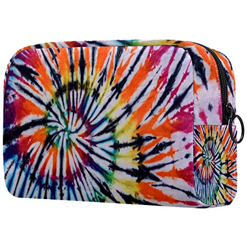 Kosmetiktasche Make-up Taschen für Frauen, Kleine Make-up Tasche Reisetaschen für Toilettenartikel - Buntes Tiedye Wirbelmuster