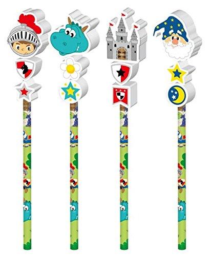 Party Großhandel 6 x Bleistift Ritter mit Radiergummi ideal als Mitgebsel für den Kindergeburtstag oder für die Schule