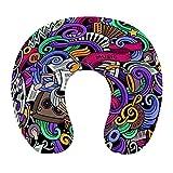 CIKYOWAY Almohada Viaje,Música Temática Dibujado a Mano Instrumentos Abstractos Micrófono Batería Teclado Stradivarius,Espuma de Memoria cojín de Cuello,Soporte de Cuello para Viaje Coche