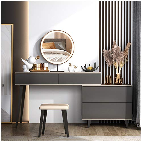 HLDWXN Dressing Table with 4 Drawers, Makeup Table with LED Light Mirror, 1 Removable Cosmetic Storage Box, Upholstered Stool, Easy To Assemble, for Bedroom, Dressing Room