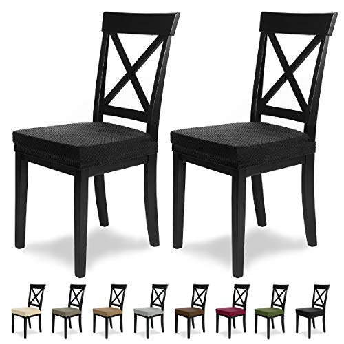 SCHEFFLER-Home Luna 2 Fundas para Asiento de sillas, Estirable Cubiertas, Chenilla Funda con Banda elástica, Negro