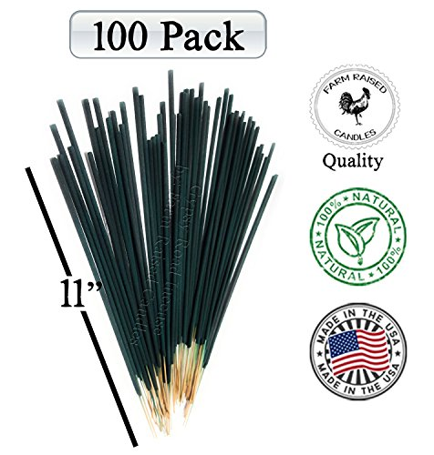 Farm Raised Candles 100 Pack Mintronella Naturals Mosquito Gnats Insect Patio Sticks. USA Hand-Crafted with Citronella Lemongrass and Peppermint Essential Oils Balcony Yard Party