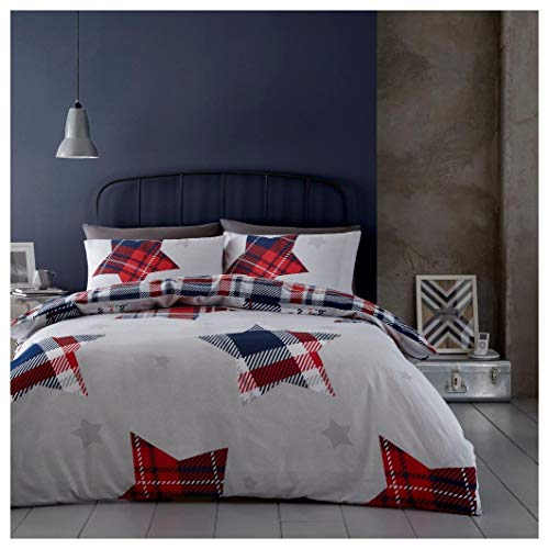 Hendem. Jaden Flannelette Stars Duvet Quilt Cover Set Reversible Tartan Check Thermal Flannel 100% Brushed Cotton Bedding (Navy, Double)