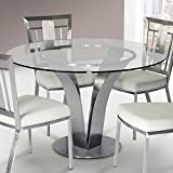 Armen Living LCCLDIB201TO Cleo Dining Table with Clear Glass and Brushed Stainless Steel Finish