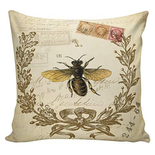 Ol322ay Kussensloop Vintage Frans Lente Honing Bee Antiek Document jute Katoen Home Decor BE01