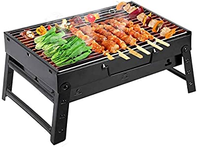 Newthinking Folding Barbecue Charcoal Grill, Portable BBQ Smoker Grill Tools Stainless Steel Grill for Camping Cooking Picnic Backpacking Garden Party Festival, Suit for 2-6 People