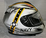 Large GHOST RIDER Jolly Rogers F-14 Tomcat US NAVY Style Motorcycle Helmet with Built In LED Lights!