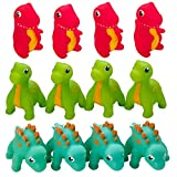 Kicko Rubber Dinosaur Squishy Toy - 12 Pack - Mini Squirting Dino Toy - for Party Favors, Sensory, Therapeutic, Oddly Satisfying, Pool and Beach Decoration, Educational and Toys for Kids - 3 Inch