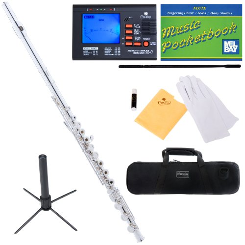 Mendini MFE-30S Intermediate Open/Closed-Hole Silver Plated C Flute w/ B Foot Joint + Case, Chromatic Tuner w/ 1 Yr Warranty, Metronome, Stand, Pocketbook, Cleaning Rod & Cloth, Joint Grease, & a Pair of Gloves
