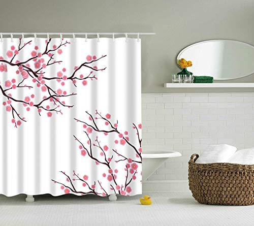 WANGXIAO Kirsche Blüte Duschvorhang Frühlingssaison rosa Blume Duschvorhang, 12 Haken Duschvorhang wasserdichtes Tuch Toilette Badzubehör