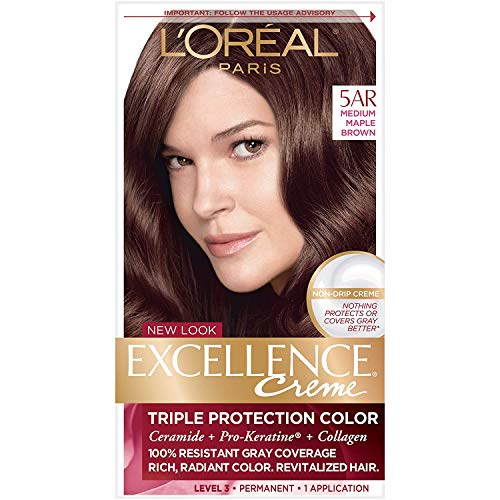 L'Oreal Paris Excellence Creme Permanent Hair Color, 5AR Medium Maple Brown, 100 percent Gray Coverage Hair Dye, Pack of 1