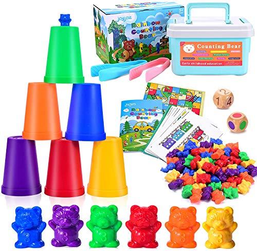 Joyjoz Orsetti per contare, 84Pz Giochi di Scelta educative con Orsetti, Tazze, Carte da Gioco, Gioco per l'apprendimento del Bambino per Doti Matematiche per Bambini dai 3 Anni in su