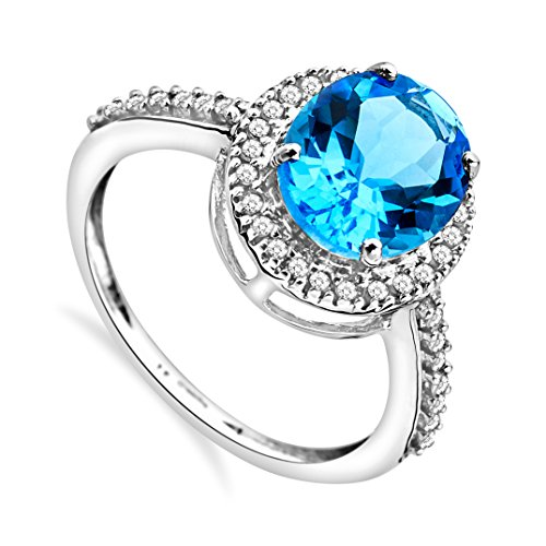 Miore Damen-Ring 375 Weißgold ovale Blau Topas Brillanten JM038R4W
