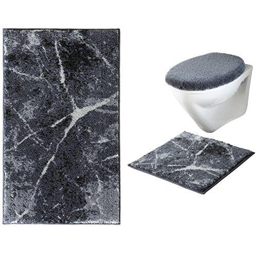 Erwin Müller Badematten-Set ohne Ausschnitt 3-teilig Marmor grau - Badematte, WC-Deckelbezug, WC-Vorlage, sehr saugfähig, schnelltrocknend, für Fußbodenheizung geeignet