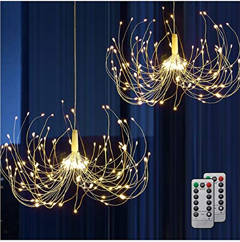 HEJOR Battery Chandelier 2 Pack, Firework Lights Starburst Light 180 LEDs | Battery Operated Fairy Light | Hanging Decorative Lights for Party Patio Umbrella, DIY Indoor/Outdoor Using, Warm White