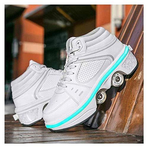 GWYX Patines 2 En 1 para Mujer, Zapatos con Luz LED para Niñas, Zapatos Unisex, Zapatos con Ruedas, Patines En Línea, Zapatos Multiusos Ajustables, white-high-EUR33
