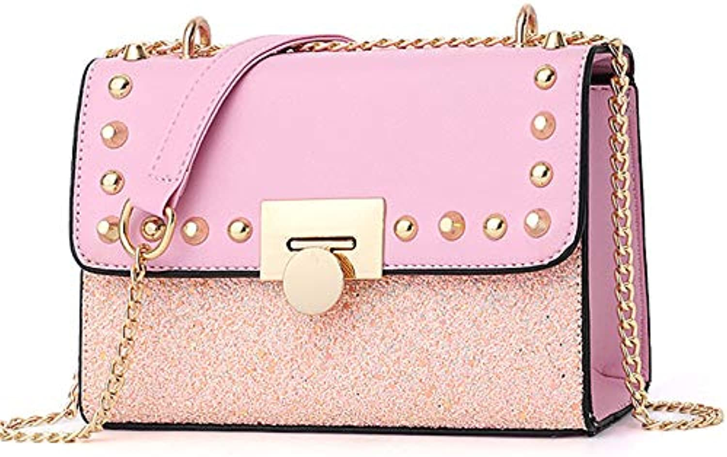ASHIJIN Shoulder Bag Women Summer Beach Leather Handbag Small Sequins Lapel Rivets Metal Pink Chain Women Handbag Fashion
