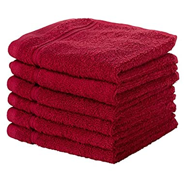 6 PACK Washcloth Towels Set | Premium Quality Luxury Turkish Cotton Absorbent AND Super Soft - BURGUNDY