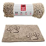Tuff Pupper Dog Doormat | Ultra Absorbent | Durable for Dogs of All Breeds | Quick Drying Chenille Fabric | Designed for Indoor and Outdoor Use | Machine Washable (Large, Beige)
