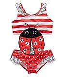 kavkas Baby/Toddler/Infant Rash Guard Swimsuit for Girl One Piece Bathing Suit Cute Cartoon Bikini (5T, Ladybug)