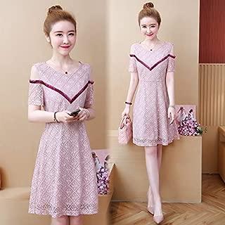 ZCLAU Ribbon Summer New Temperament Stitching Lace Short-Sleeved Dress (Color : Pink, Size : Plus-sizeXXXXL)