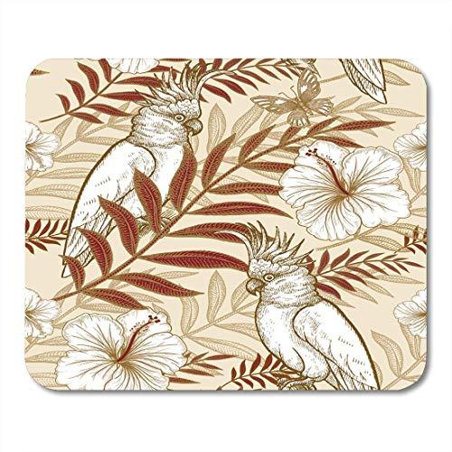 Mauspads Blumen und Vögel Handzeichnung von Wildlife Goldfolie auf weißen exotischen Pflanzen Papageien für Luxusstoffe Mauspad für Notebooks, Desktop-Computer Büromaterial