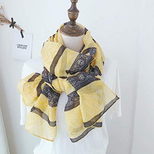 Vcnhln Día de la Madre Primavera y Verano Estilo étnico Retro rombo geométrico Amarillo Estampado de algodón y Lino Bufanda Bufanda de Seda Fina Protector Solar Toalla de Playa
