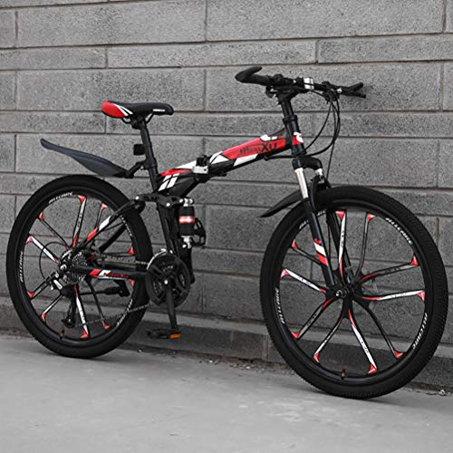 ZEIYUQI Bicicleta Portátil para Adultos Plegable 24 Pulgadas Marco De Acero De Alto Carbono Adecuado para Montar Al Aire Libre,Rojo,27 * 26''* 10