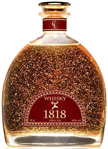 Cadeau Whisky Ecossais Single Malt 1818 - Feuille d'Or 23 Carats - Scotch Whiskey Barrel - Original Cadeau de Luxe pour Homme - 200 Anniversaire Édition Limitée - Sans coffret.