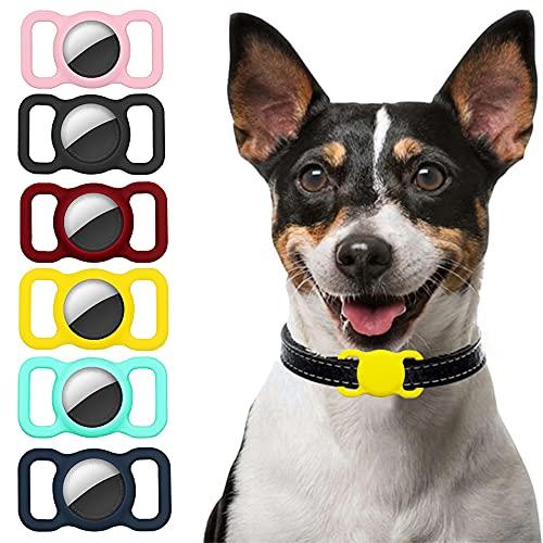 Ztowoto Funda de Silicona Compatible con Airtag Pet Collar, Airtag Funda Protectora para Perro Gato Collar 6 PCS (Rosa/Negro/Carmesí/Amarillo/Verde Menta/Azul Oscuro)