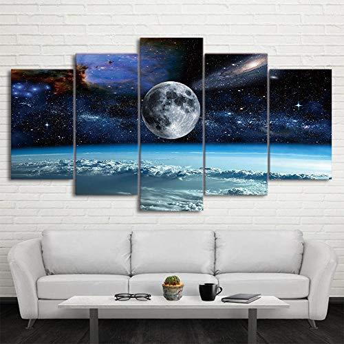 Cuadro En Lienzo Decoracion 5 Piezas HD Imagen Impresiones En Lienzo Espacio Universo Luna Estrellas Pintura Lienzo Grandes XXL Murales Pared 5 Paneles De Pinturas De Obras De Arte Moderno