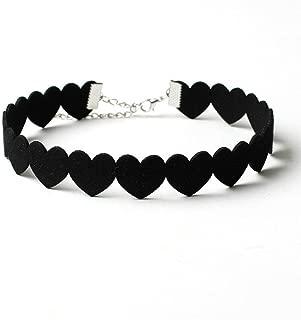 Panwa Jewelry Black Heart Velvet Choker Statement Chunky Women's Pendant Necklace Jewelry Gift