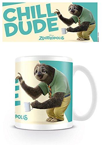 empireposter Zootropolis - Chill Dude Flash Zoomania - Faultier - Keramik Tasse - Größe Ø8,5 H9,5cm + Zusätzlich: 1 Lizenz Keramik Tasse - Größe Ø8,5 H9,5 cm