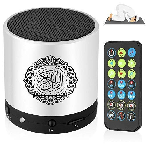 LWW Lautsprecher mit Fernbedienung, tragbarer Quran-Lautsprecher, MP3-Player, 8 GB, TF, FM, Koran-Translator, USB, wiederaufladbar, silberfarben