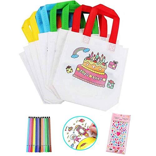 Heatigo Kinder Stoffbeutel Set,24 Stück Non-Woven Tasche Zum Bemalen & 12 Farbe Buntstifte für Kindergeburtstag DIY Graffiti Taschen Ideal für Geburtstagsfeier Geschenke Schulen Kindergarten