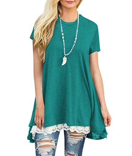 Blazar Mujer Camiseta T-Shirt Mini Vestido Verano Encaje Dobladillo Túnica Tops Estival de Manga Corta Casual Ropa Tamaño Grande con Botón Verde XXL