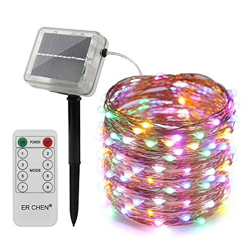 ErChen Solar Powered LED String Lights, 66 FT 200 Leds Copper Wire Waterproof with Remote Control 8 modes Decorative Fairy Lights for Outdoor Christmas Garden Patio yard (Multicolor)