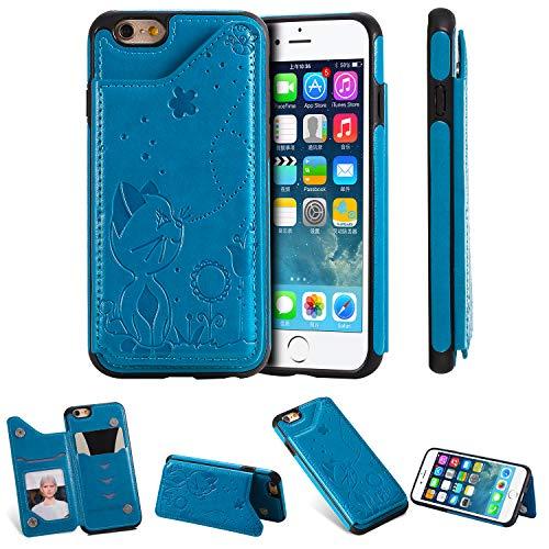 Miagon Flip Cover per iPhone 6 / 6S,Goffratura Gatto Ape Libro Portafoglio Pelle Case con Funzione Supporto e Porte Carte Chiusura Pieghevole Custodia,Blu