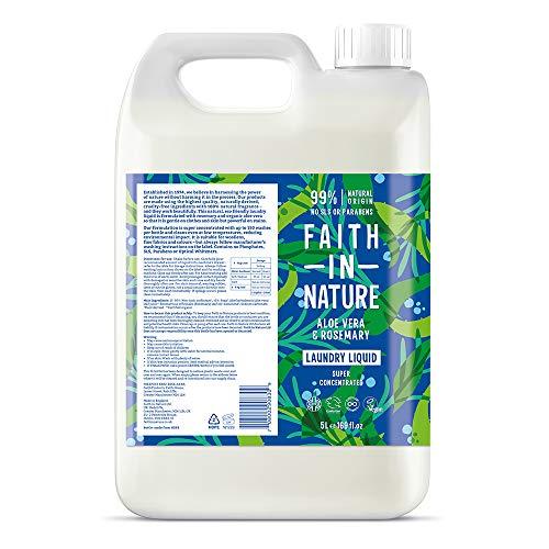 Faith In Nature Detergente Líquido Natural de Aloe Vera y Romero, Súper Concentrado, Vegano y No Testado en Animales, sin Parabenos ni SLS, Recarga de 5L 5000 ml