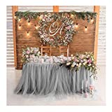 Tutu Table Skirt Fluffy Tulle Lace Table Skirting for Rectangle or Round Tablecloth Party Decoration 1 Yard (Gray)