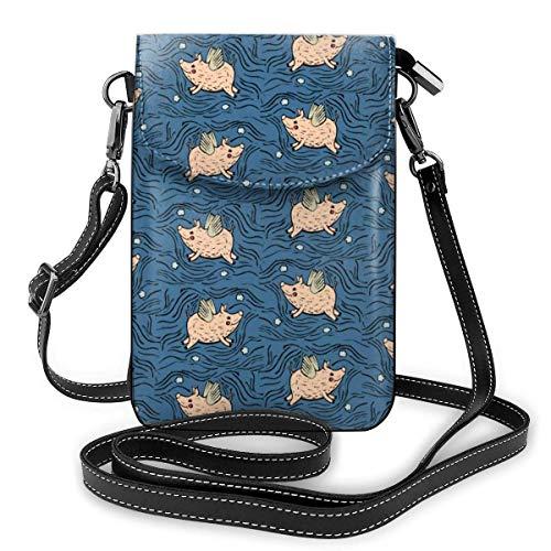 Clsr Handy Geldbörsen Kleine Crossbody Wenn Schweine Blaue Brieftasche Taschen Mit Verstellbaren Schultergurt Frauen Fliegen