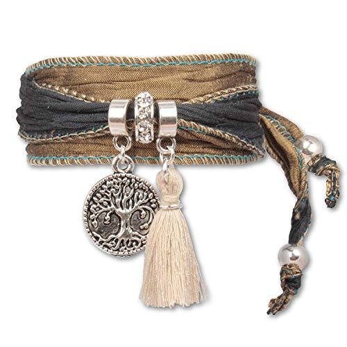 Anisch de la Cara Damen Armband Olive Grey - Tree of Life Symbolsarmband aus indischen Saris Tree of Life - ArtNr. 2223-e