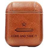 NBFU Keen Come and Take It Anti-Gun Control (Vintage Brown) Engraved Air Pods Protective Leather Case Cover - a New Class of Luxury to Your AirPods - Premium PU Leather and Handmade exquisitely