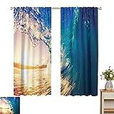 Petpany - Cortina opaca con bolsillo para barra, diseño de océano, Jetty y el océano, vista en la imagen tropical de la isla caribeña en la playa, color azul turquesa, madera roja, oscurecimiento y cortinas aislantes térmicos, tela, Color 6, 60'W x 84'L