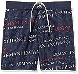 ARMANI EXCHANGE Lettering Game Costume da Bagno, Blu (Navy/ST.EXTREAM Logo-Navy/EXTREAM Logo PR 44236), Large Uomo