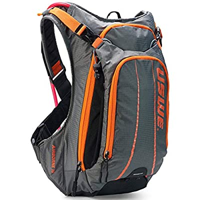 USWE Airborne 15L Hydration Pack with 3.0L / 100oz Hydration Bladder, Orange Black, Bounce Free Backpack for Mountain Biking