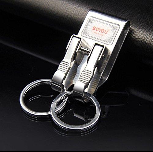 Fu Man Li Trading Company Porte-clés en acier inoxydable pour femme à double anneau A+